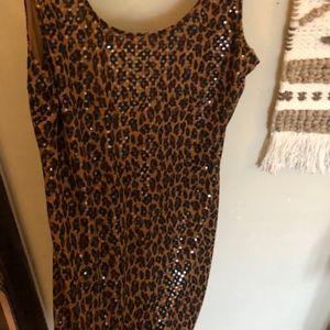 Express Cheetah Print Sequin Dress - Small